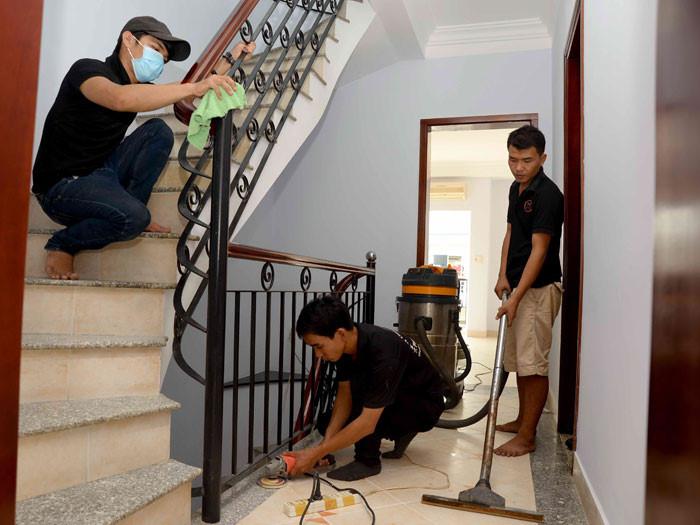 Quy trình lau chùi trong gói vệ sinh huyện Củ Chi